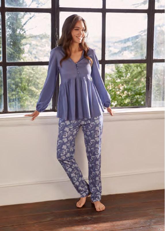 eros-esk27632-pamuklu-cicek-desenli-v-yaka-pijama-takimi